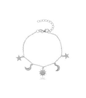 Pulsera Sol, Luna, Estrella Plata