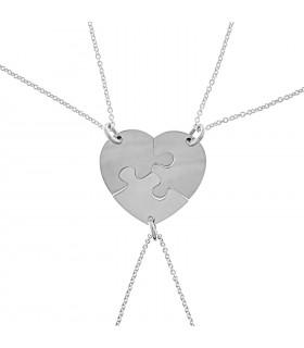 Collar Corazón Partido en 3 Piezas de Puzzle de Plata